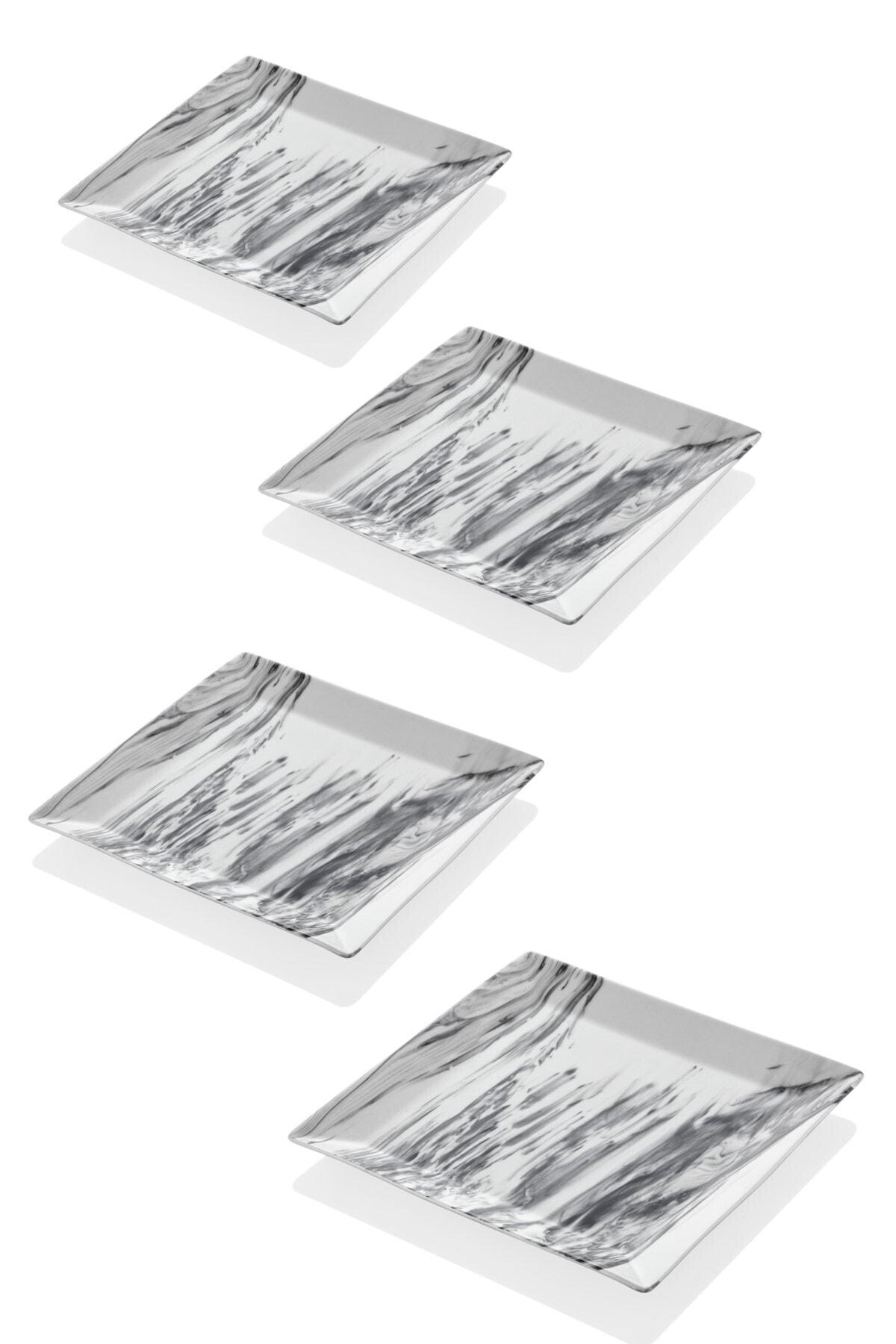 SETABIANCA Mermer Görünümlü 4lü Servis Tabağı 24 Cm 1