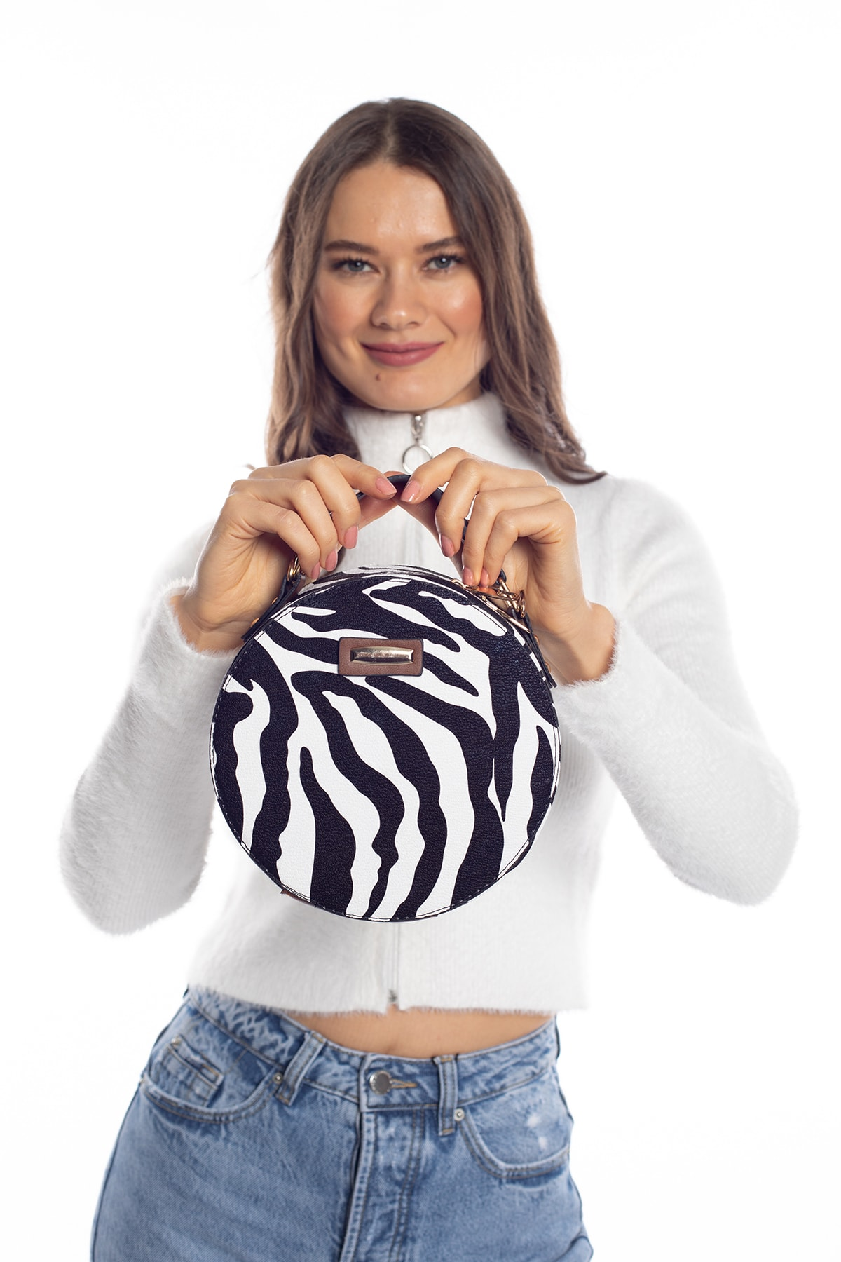 Madamra Aynı Butikte 2.Ürün 1 TL Zebra Desenli Kadın Yuvarlak Omuz Çantası 1