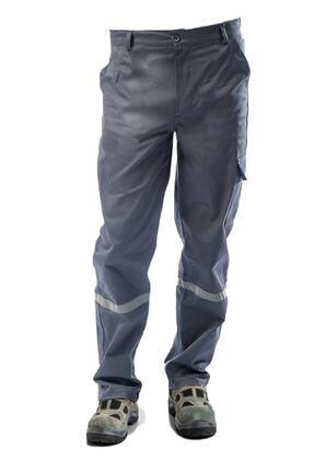 Çamdalı İş Elbiseleri 7/7 Gabardin Kışlık Gri Işçi Pantolonu Kalın Reflektörlü Iş Pantolonu