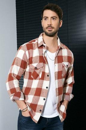 Sateen Men Erkek Ekru-Tarçın Oduncu Gömlek