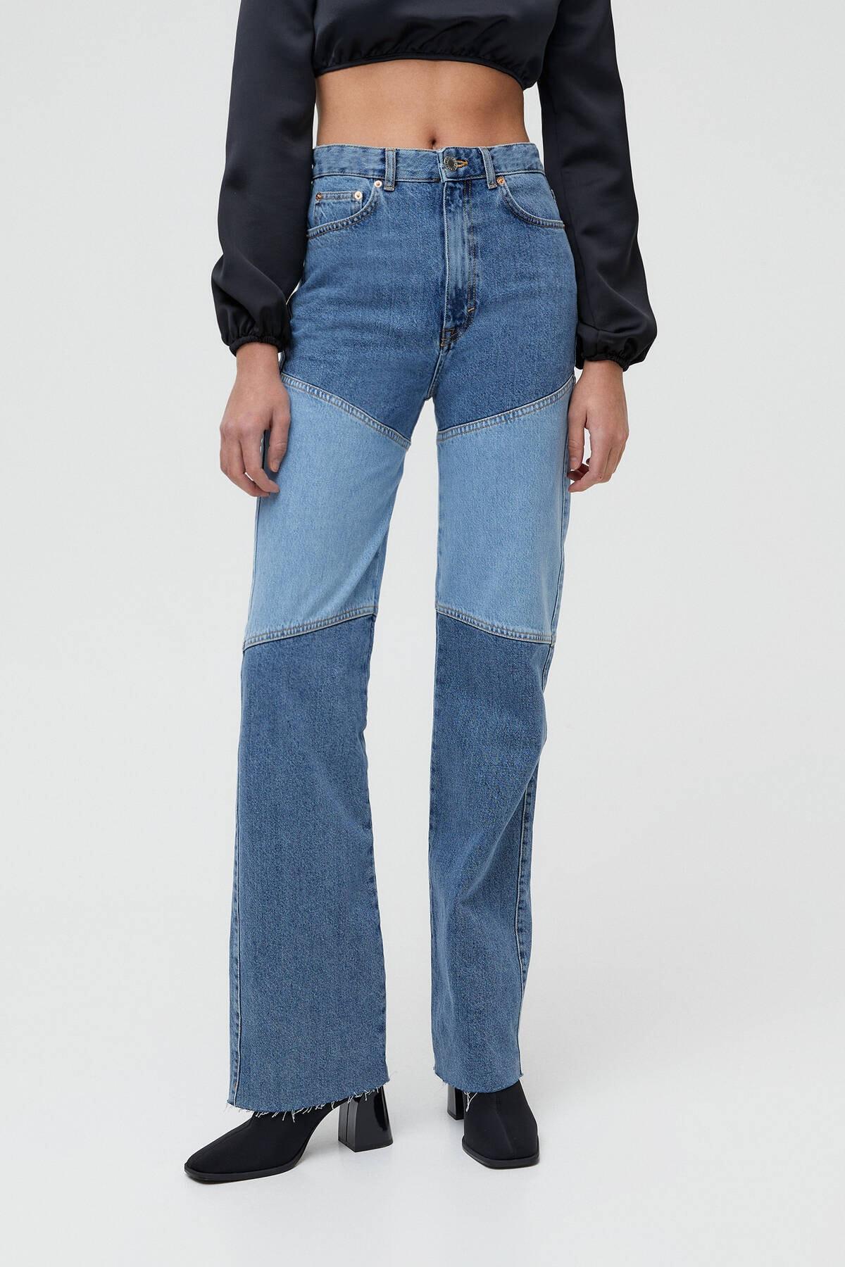 Pull & Bear Kontrast Parçalı Yüksek Bel Straight Fit Jean 2