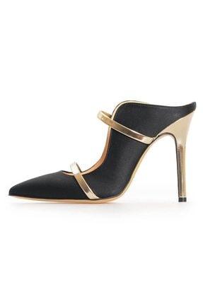Flower Kadın Siyah Saten Dore Bant Detaylı Topuklu Ayakkabı