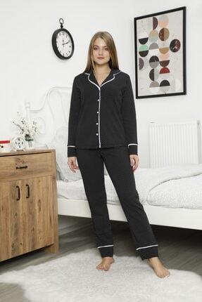 Çekmece Kadın Siyah Düğmeli Biyeli Puantiyeli Uzun Kol Pamuklu Pijama Takım 1 Adet