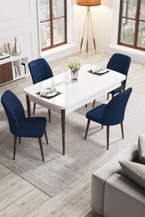 Canisa Concept Rio Serisi Mdf Ahşap Ayaklı Açılabilir Mutfak Masa Takımı/beyaz Masa + 4 Lacivert Sandalye
