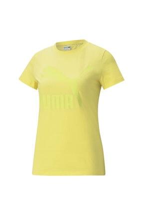 Puma Kadın Tişört Classics Logo Tee - Sarı