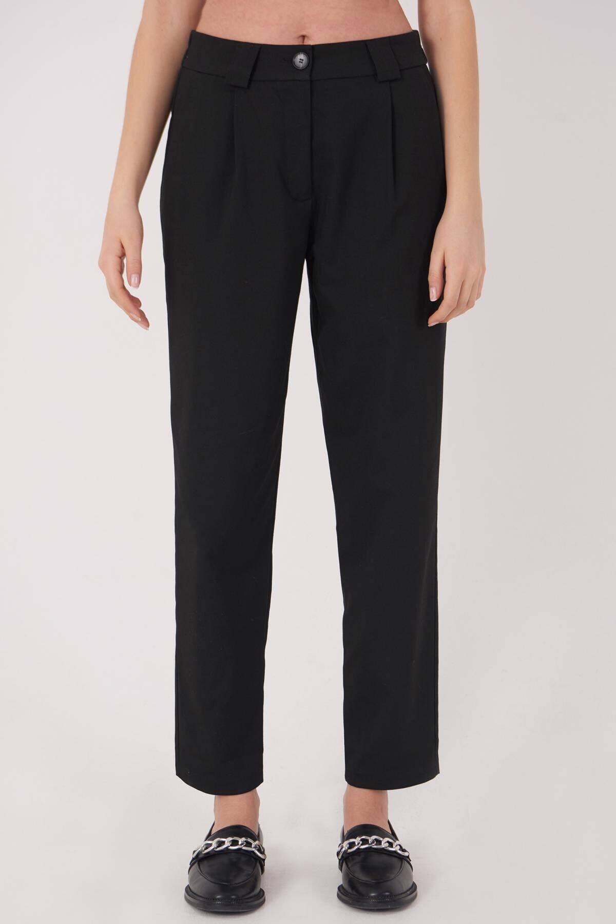Addax Kadın Siyah Cep Detaylı Pantolon Pn8096 - E6 Adx-0000023579