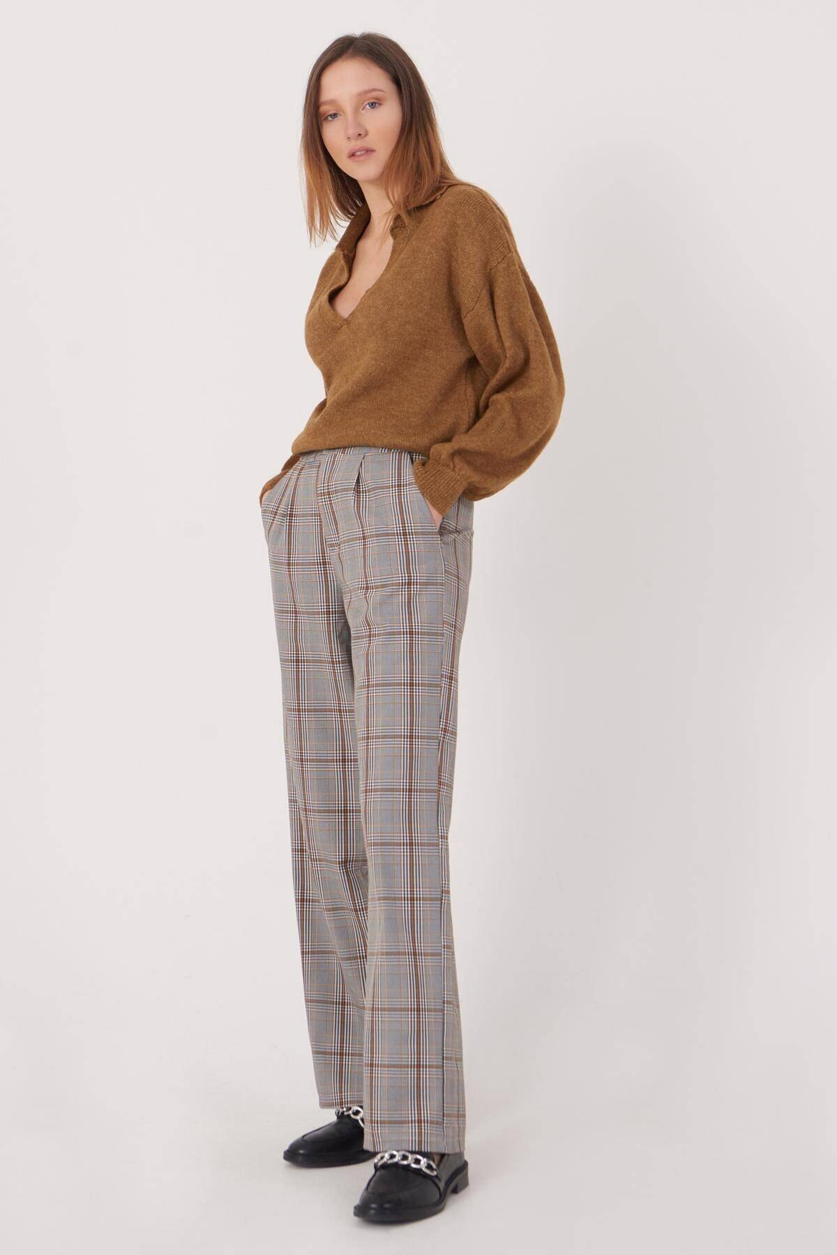 Addax Kadın Gri Ekose Pantolon Pn8098 - T1 Adx-0000023563
