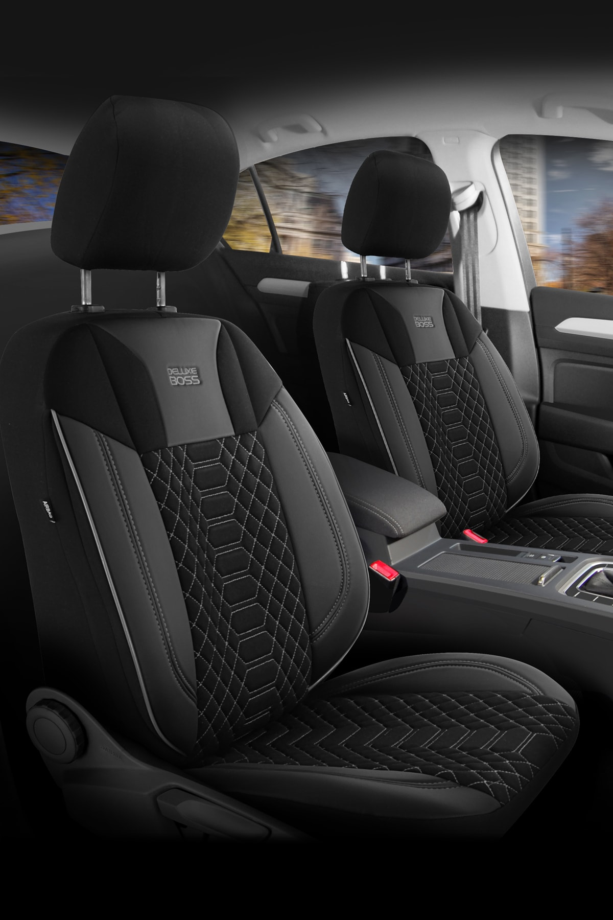 Deluxe Boss Special Oto Koltuk Kılıfı - Modena Serisi - Siyah Renk Füme Nakış 2