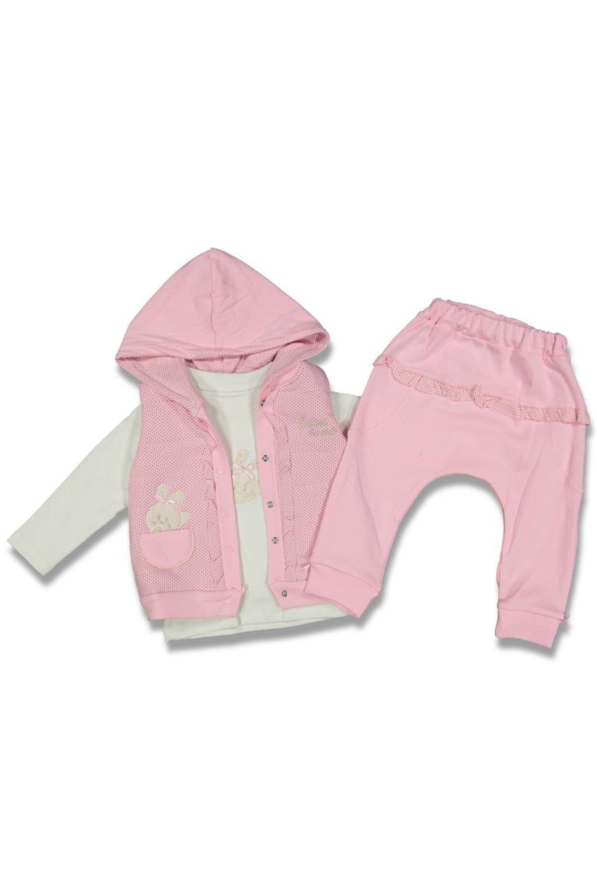 Hazal Baby Kız Bebek Pembe Şişme Yelekli 3'lü Takım 1