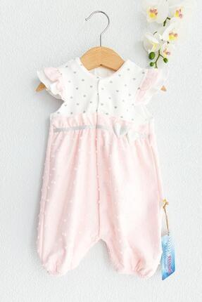 Babymod Kalp Desenli Yazlık Kısa Kollu Kız Bebek Tulum