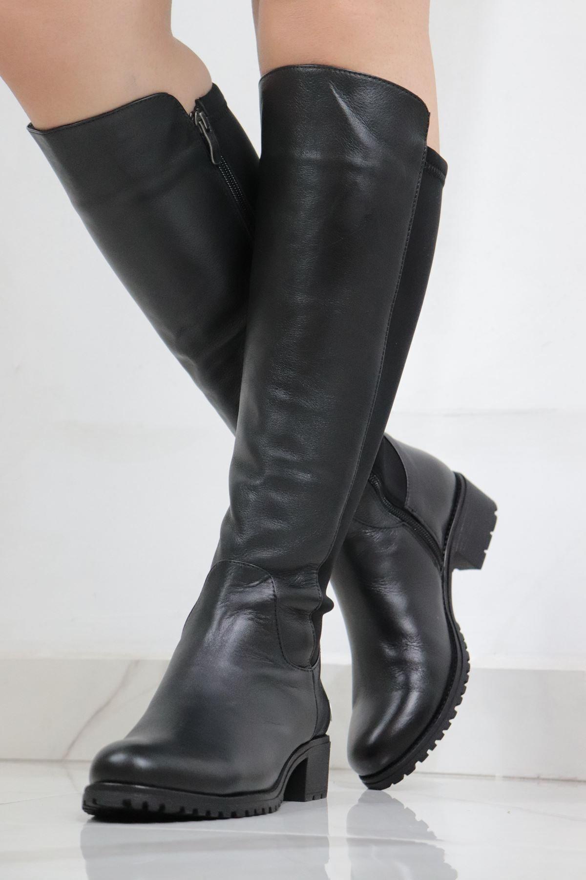 Mammamia Kadın  Siyah Deri Çizme 1