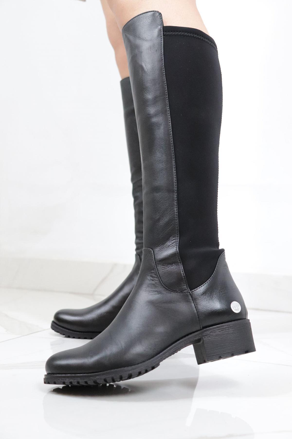Mammamia Kadın  Siyah Deri Çizme 2