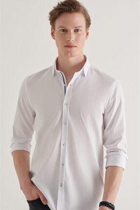 Avva Erkek Beyaz Armürlü Alttan Britli Yaka Regular Fit Garnili Gömlek A11y2115