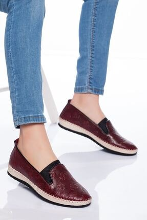 derithy Kadın Bordo Hakiki Deri Casual Ayakkabı