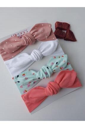 swan butik Kız Çocuk Bebek Bandana Toka Seti 4'lü Pembe Kalpli, Mint Yeşili, Şeftali, Beyaz