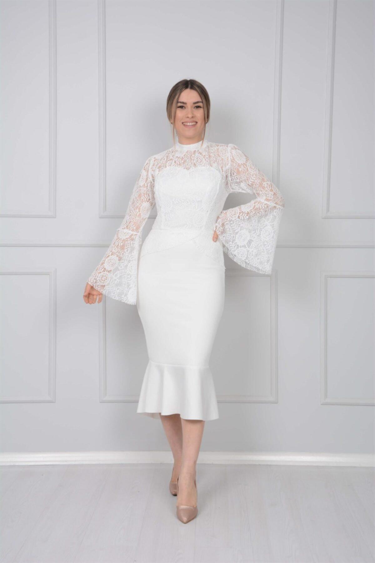 giyimmasalı Scuba Ve Güpür Detaylı Elbise - Beyaz 1