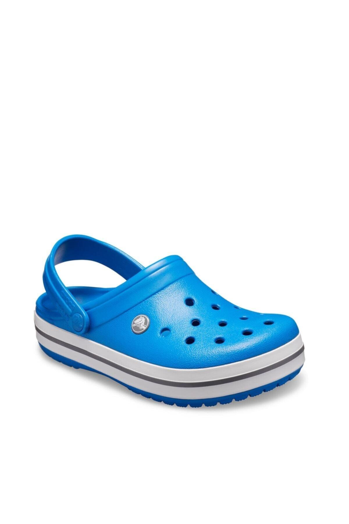 Crocs Mavi Unisex Crocband Kenarı Beyaz Siyah Çizgili Terlik 2