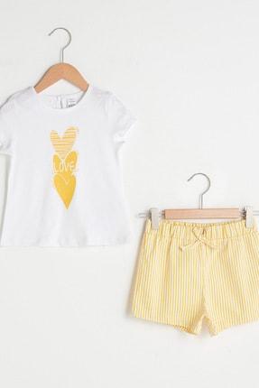LC Waikiki Kız Bebek Sarı Çizgili Lkf Alt-Üst Takım