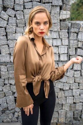 Silk and Cashmere Kadın Kahverengi Ipek Audrey Geniş Manşet Uzun Kollu Gömlek