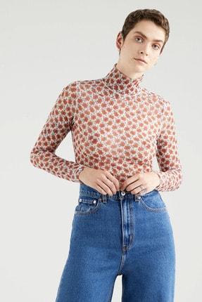 Levi's Secondskin Mockneck Small Folksy Floral Gri Kadın Tişört