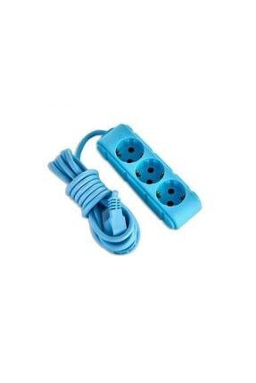 Tvet Mavi Dekoratif  Ara Kablo 3 Lü Priz 3 mt T39905