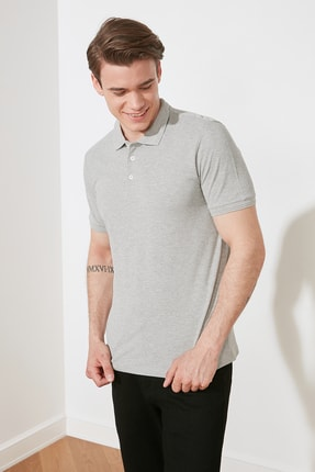 TRENDYOL MAN Gri Erkek Slim Fit Polo Yaka Kısa Kollu Polo Yaka T-shirt TMNSS20PO0009