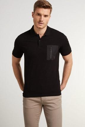 Network Erkek Slim Fit Siyah Polo Yaka T-shirt 1078413