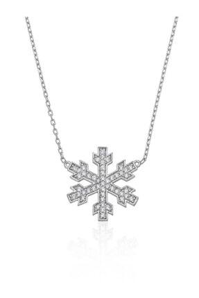 Gümüş Pazarım Kar Tanesi Motifli Rodyum Kaplama Gümüş Kolye