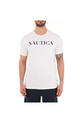Nautica Erkek Beyaz Pamuklu Bisiklet Yaka T-Shirt
