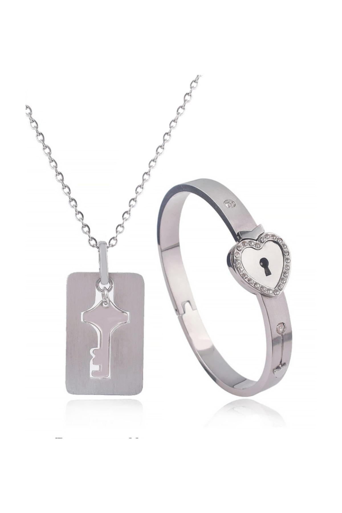 Chavin Anahtarlı Sevgiliye Çelik Kolye Taşlı Bileklik Set Ec93by 2