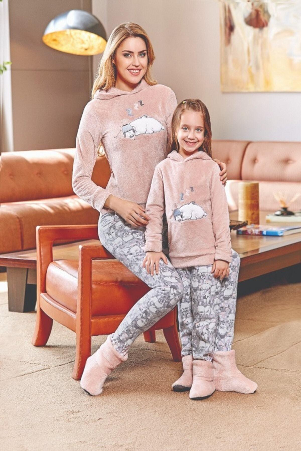 DOWRY Peluş Anne Ve Kız Pijama Takımı 1