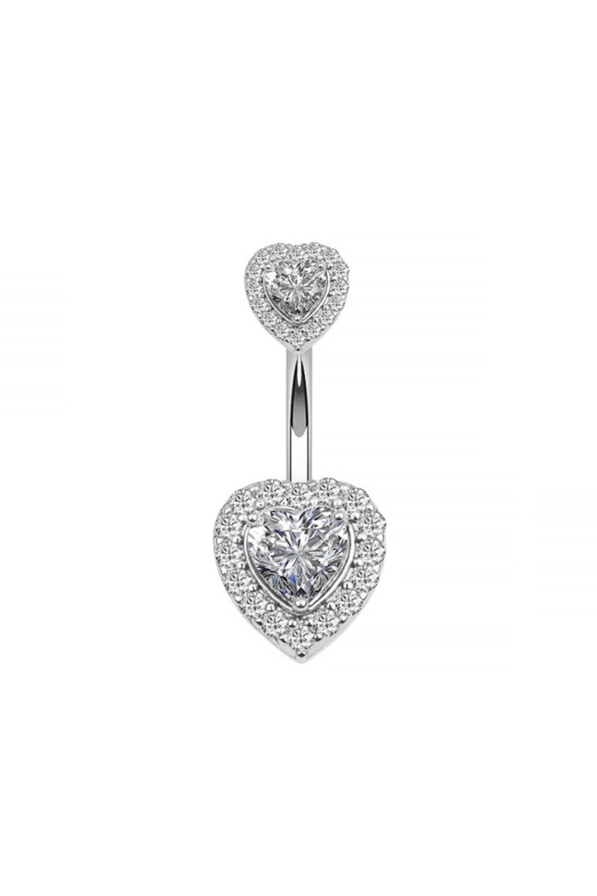Chavin Çift Kalp Taşlı Komple Taşlı Göbek Piercing Eg58by 1