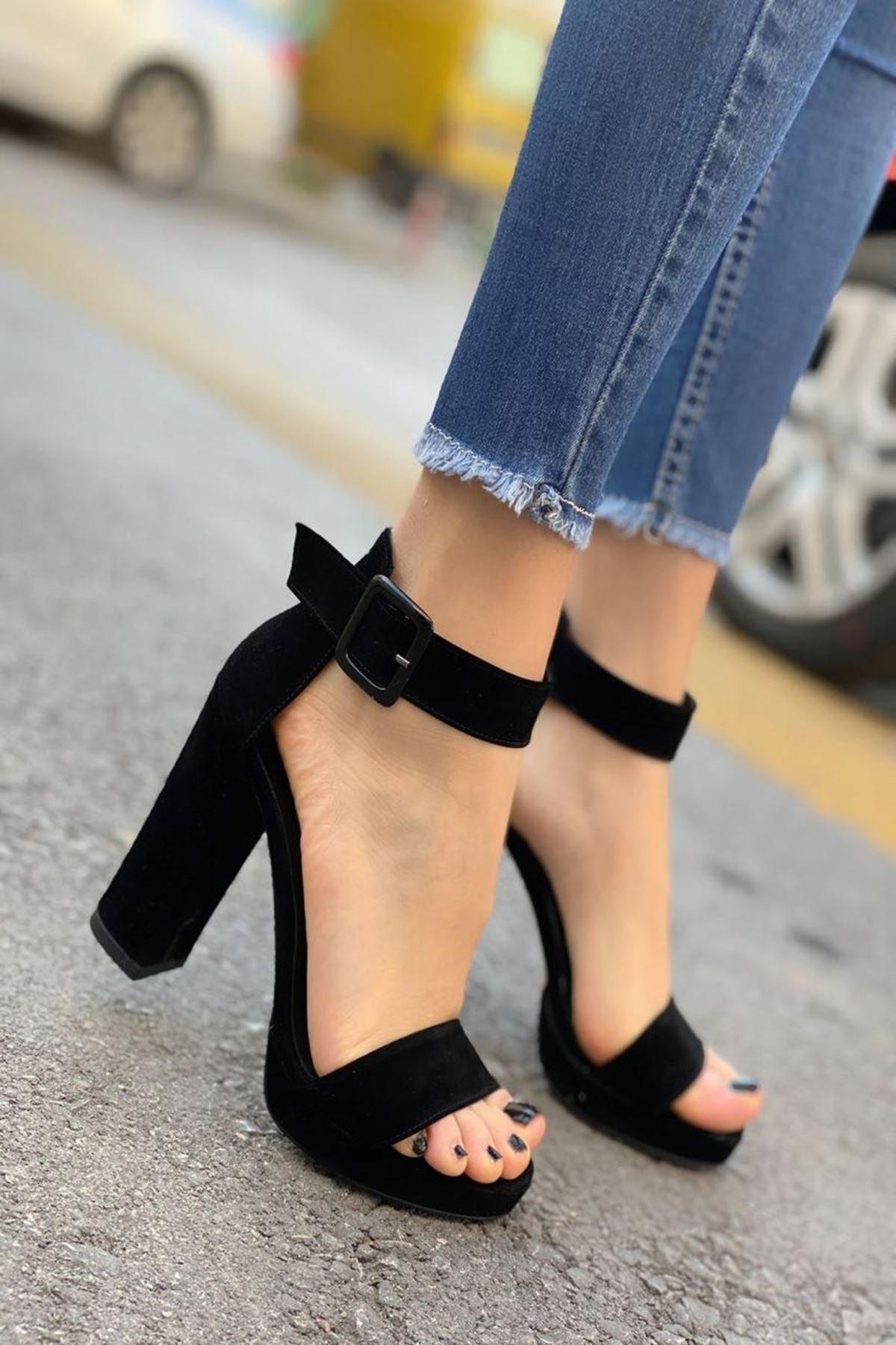 MODAADAM Kadın Margaret Süet Topuklu Ayakkabı Siyah 1