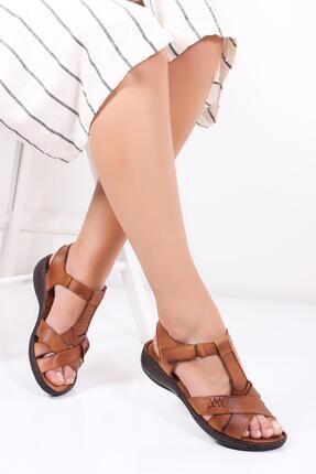 Deripabuc Hakiki Deri Taba Kadın Deri Sandalet Dc-0111