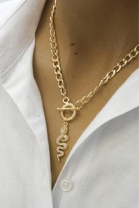Marjin Kadın Altın Renkli Yılan Figürlü Zincir Kolyealtın
