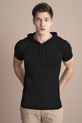 TENA MODA Erkek Siyah Kapüşonlu Düz Tişört