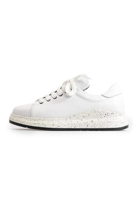 Flower Beyaz Bağcıklı Klasik Kadın Spor Ayakkabı