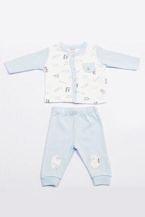 Pierre Cardin Baby Pierre Cardin Bebek Takımı Yazı Baskılı Mavi