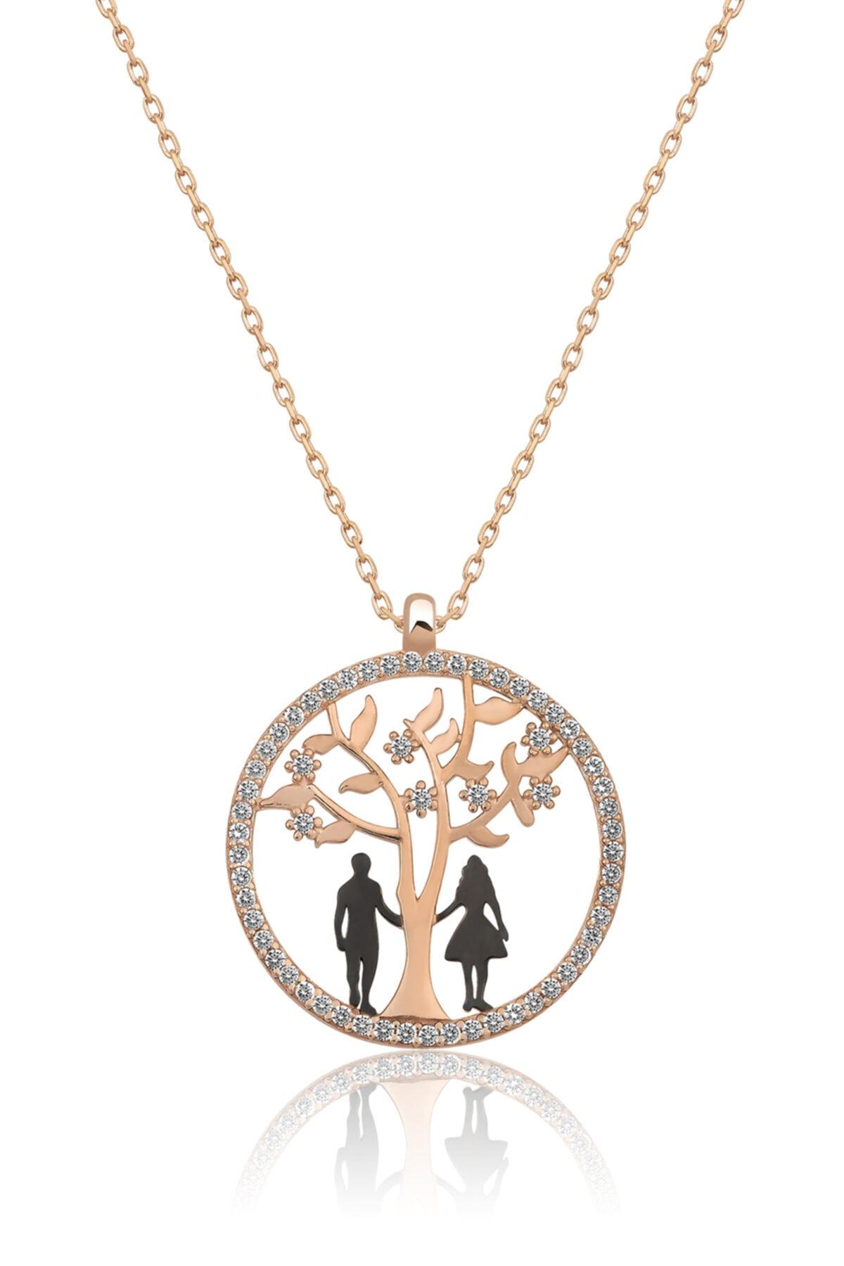 Papatya Silver Hayat Ağacı Sevgili Aşk Kolye Rose Gold Kaplama 925 Ayar Gümüş Uvps100506 1