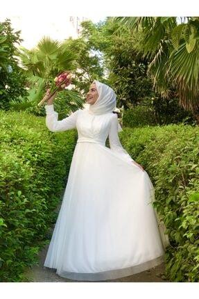 Loreen Kadın Beyaz Hayal Tül Tesettür Abiye Elbise