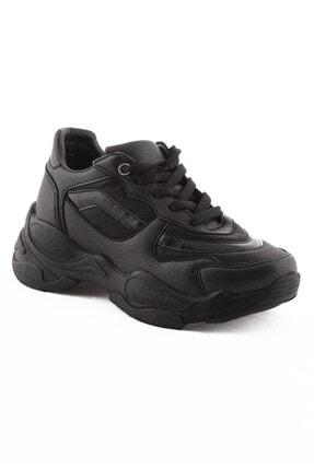 Arlin Kadın Bağcıklı Yüksek Taban Siyah Siyah Spor Ayakkabı