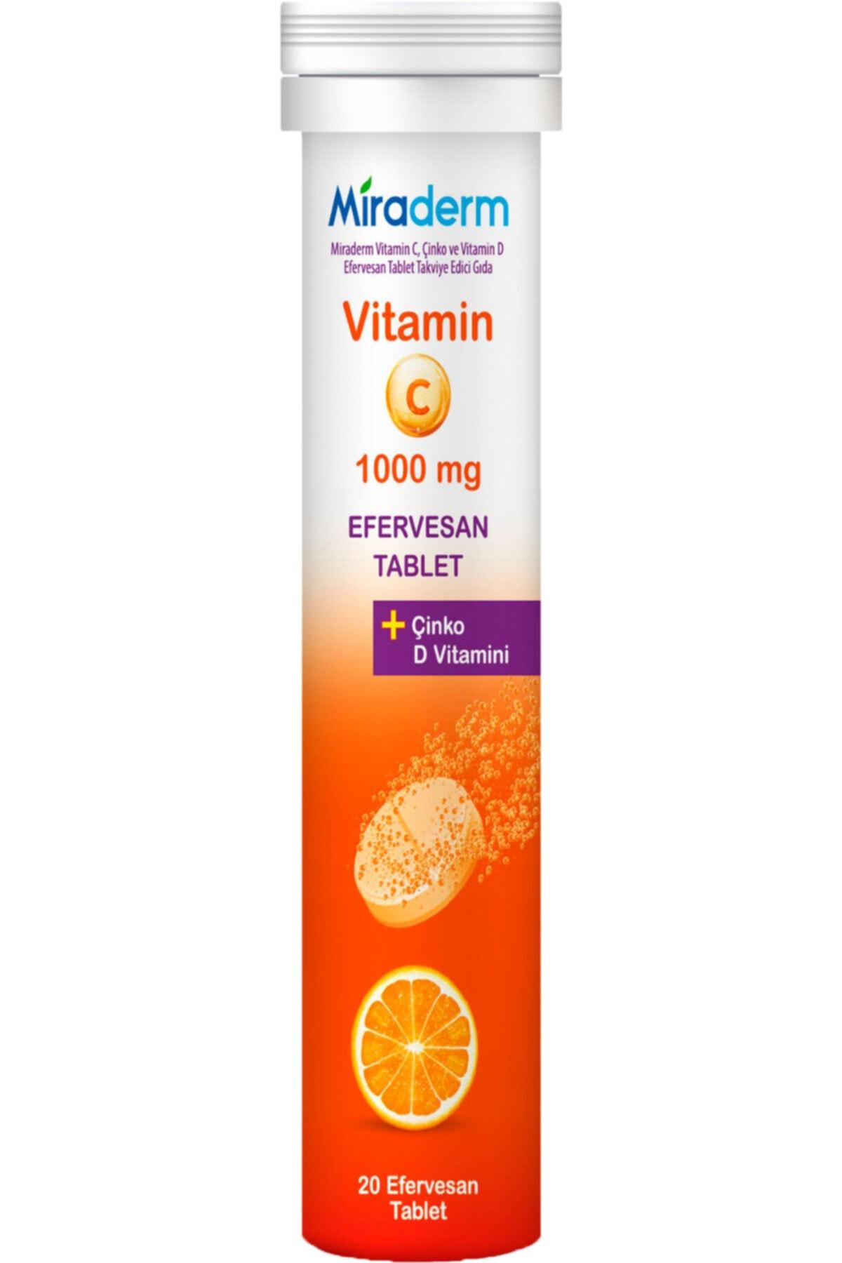 Miraderm C Vitamini 3 Lü Etki 1000 Mg 20 Efervesan 1