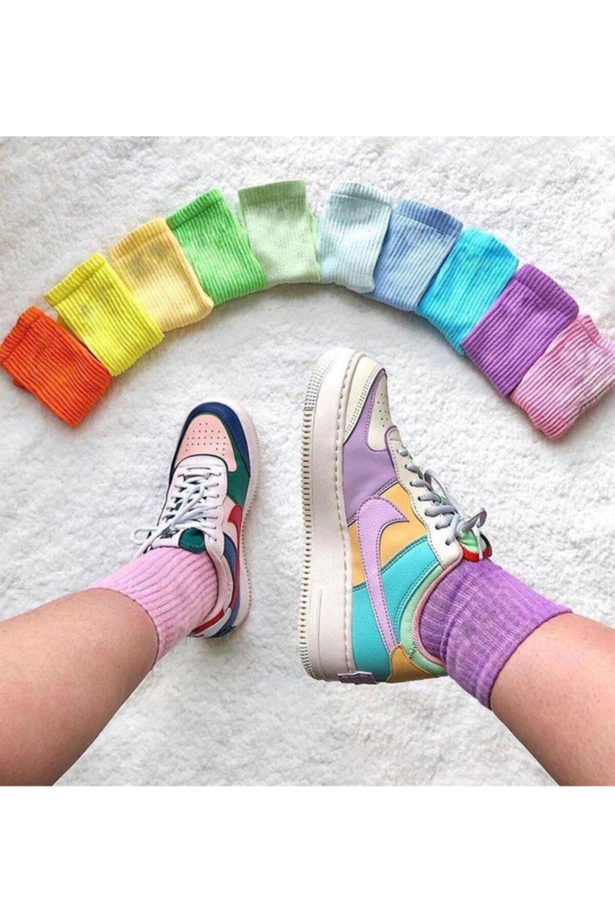 SOYTEMİZ ÇORAP Unisex Çok Renkli Kolej Çorap Düz 10 Çift 1