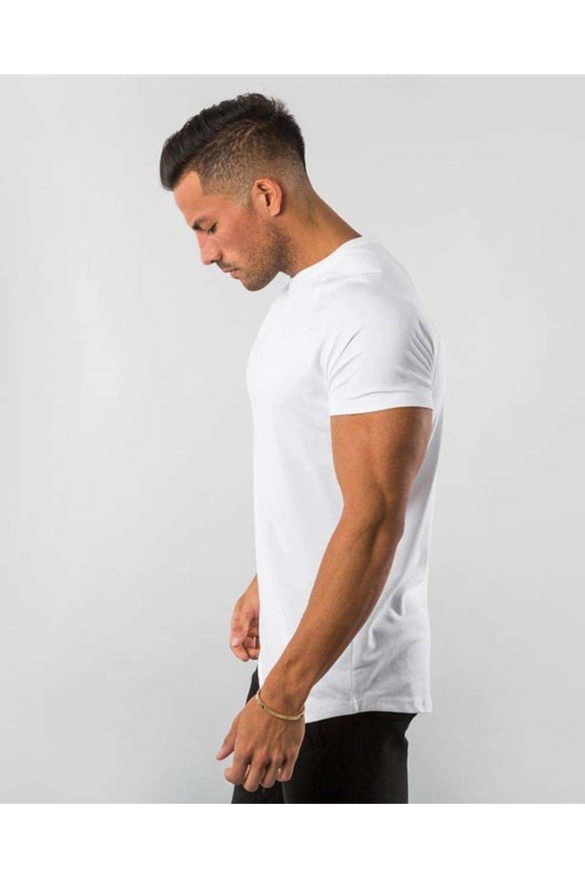 EMTA Beyaz Erkek Basic %100 Pamuk Bisiklet Yaka T-shirt 2
