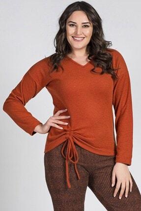 Womenice Büyük Beden Turuncu Eteği Büzgülü Bağcıklı Bluz
