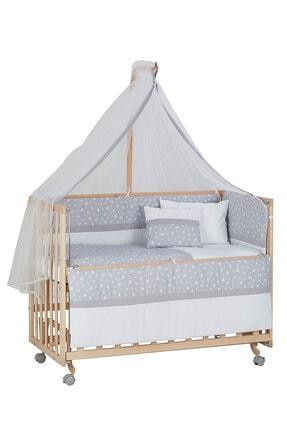 Babycom Doğal Ahşap Boyasız Anne Yanı Tekerlekli Beşik 60x120 4 Kademeli + Gri Yıldızlı Uyku Seti