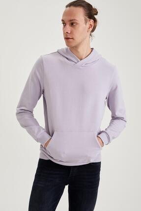 DeFacto Erkek Lila Kapüşonlu Slim Fit Basic Sweatshirt