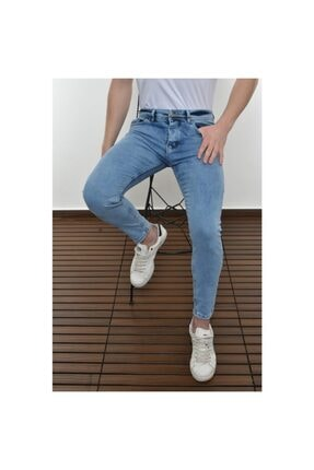 Lose Jeans Erkek Buz Mavi Skinny Fit Bilekboy Pantolon