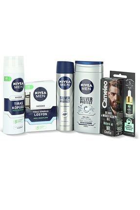 Nivea Men Erkek Silver Protect Cilt Bakım Seti + Cameleo Sakal & Bıyık Serumu 10 ml