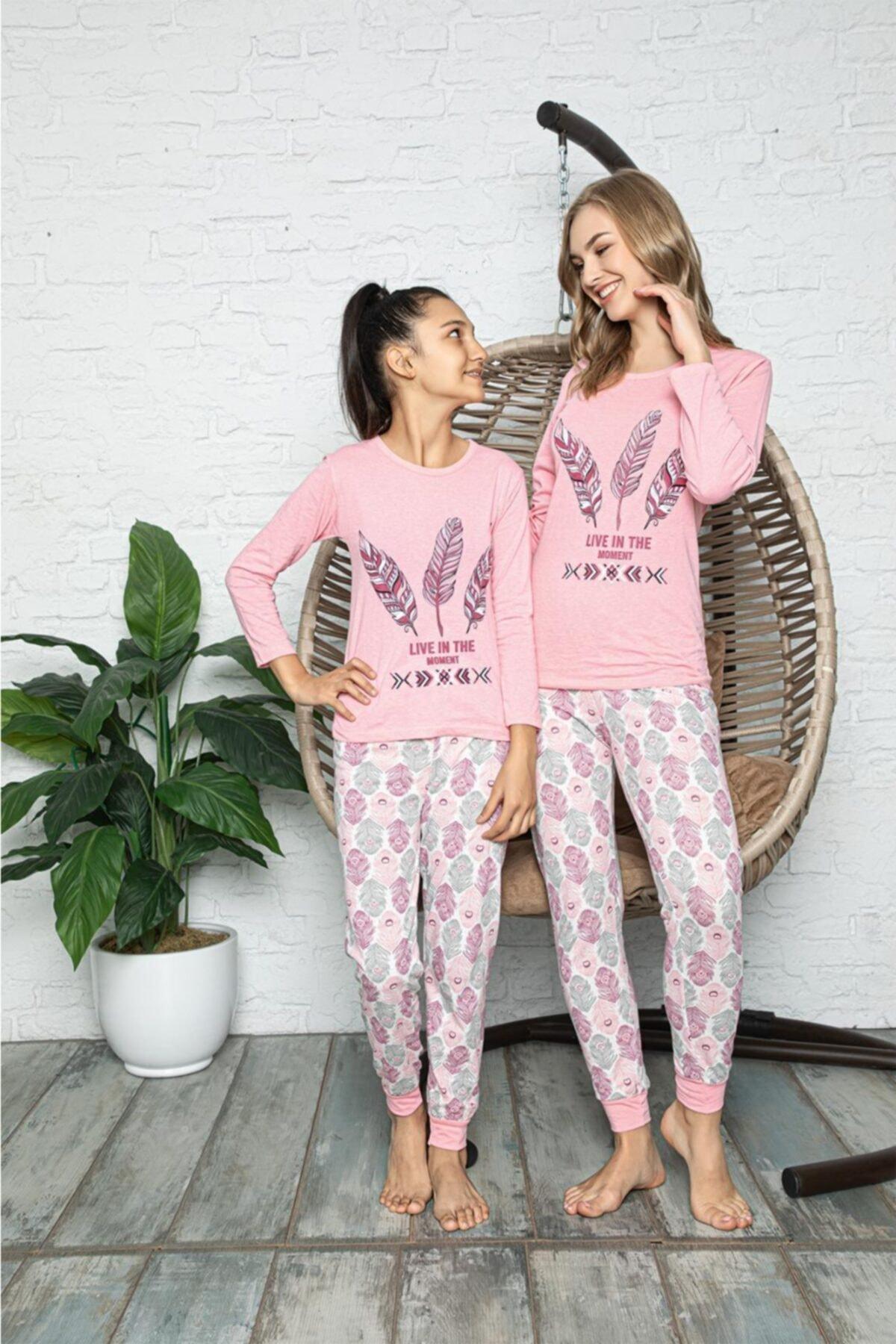 Souffle Boutique Kuş Tüyü Baskılı Pembe Anne Kız Pijama Takımı 1